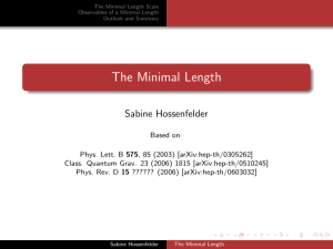 The Minimal Length Scale