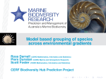 Model based grouping of species across environmental gradients