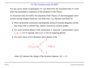 3.6 The Feynman-rules for QED For any given action (Lagrangian