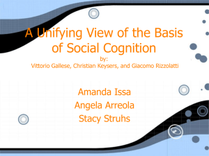 A unifying view of the basis of social cognition