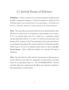2.1 Inertial Frames of Reference