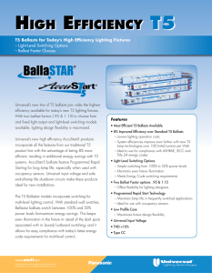T5 Ballasts for Today`s High Efficiency Lighting Fixtures