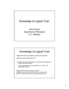 Knowledge of Logical Truth Knowledge of Logical Truth