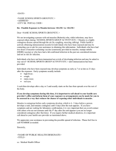 Letter to a School or Group Exposed to a Measles Case