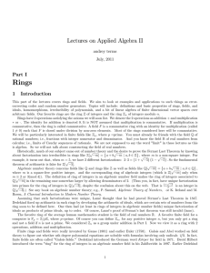 Lectures on Applied Algebra II
