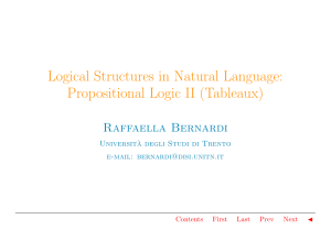 Logical Structures in Natural Language: Propositional Logic II