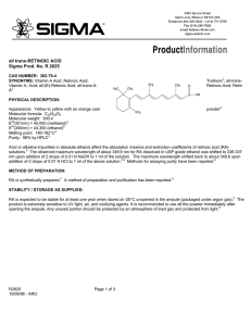 Retinoic acid (R2625) - Product Information Sheet - Sigma