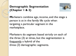 Demographic Segmentation It is difficult to segment based solely on
