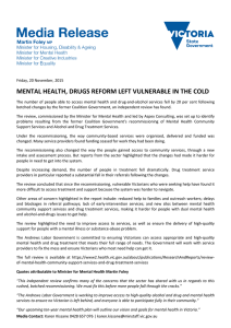 MENTAL HEALTH, DRUGS REFORM LEFT VULNERABLE IN THE