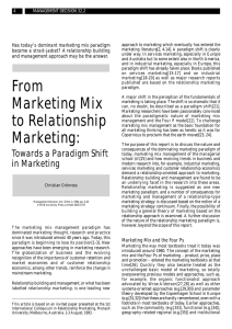 From Marketing Mix to Relationship Marketing: