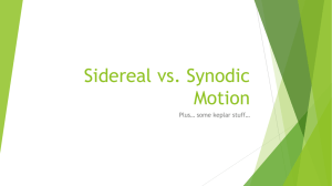 Sidereal vs. Synodic Motion