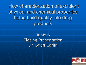 How Characterization of Excipient Physical and Chemical Properties