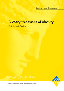 Dietary treatment of obesity – A Systematic Review. Summary