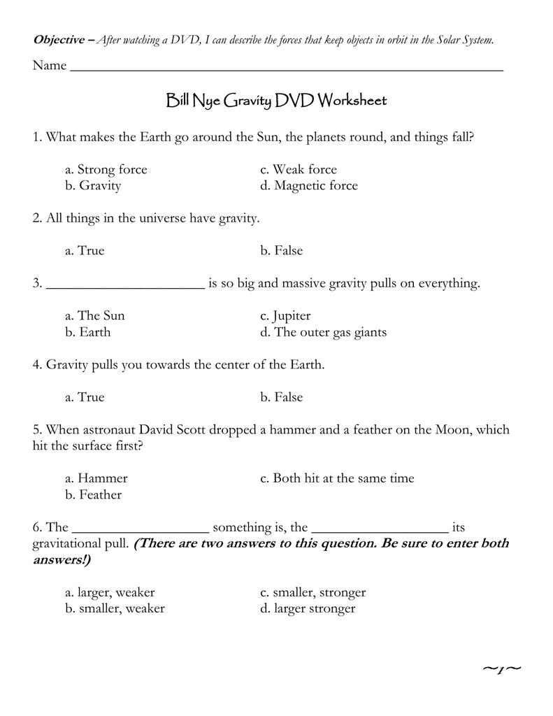 Bill Nye Gravity Worksheet - Checks Worksheet
