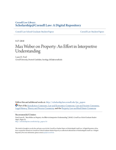Max Weber on Property: An Effort in Interpretive Understanding