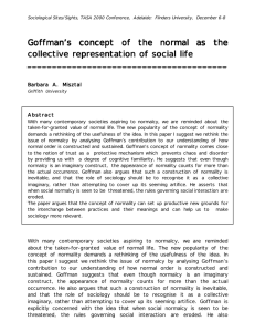 Goffman`s concept of the normal as the collective