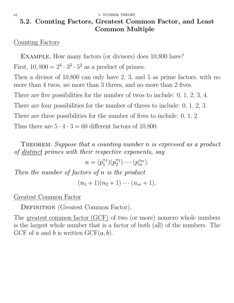 5.2. counting factors, greatest common factor, and least