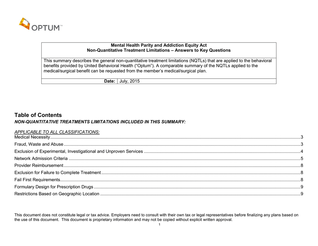 Summary Of Mh Sud Non Quantitative Treatment Limitations