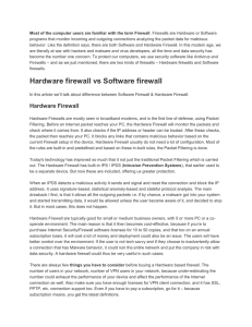 Hardware firewall vs Software firewall