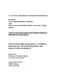 emancipatory research - Centre for Disability Studies