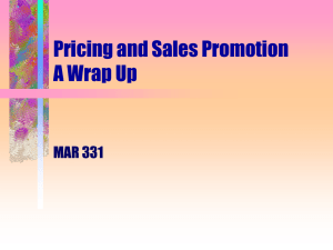 Pricing and Sales Promotion A Wrap Up