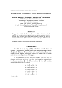 Classification of 3-Dimensional Complex Diassociative Algebras
