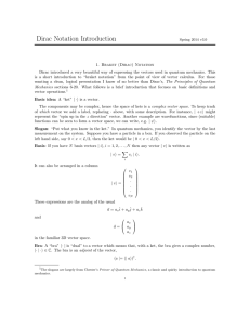 Dirac Notation Introduction