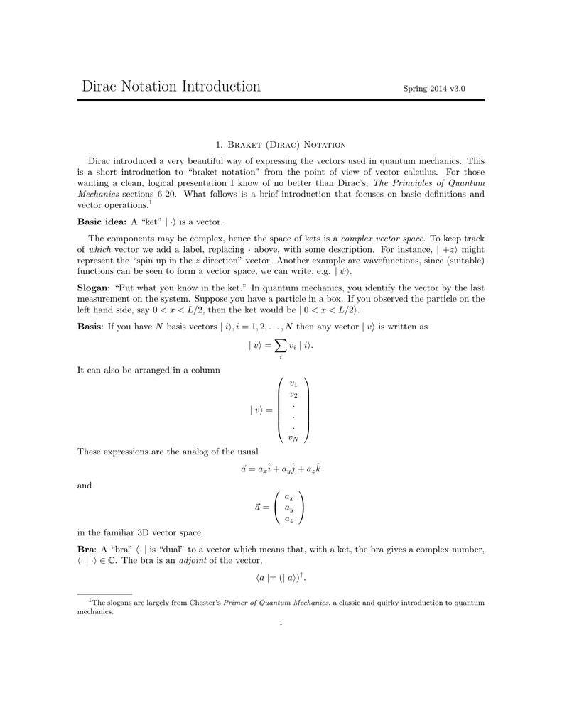 Dirac Notation Quantum Mechanics Bra Ket Www Tollebild Com