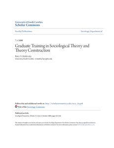 Graduate Training in Sociological Theory and Theory Construction