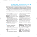 Glossary of Service Marketing and Management Terms