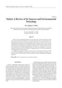 Nickel: A Review of Its Sources and Environmental Toxicology
