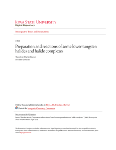 Preparation and reactions of some lower tungsten halides and