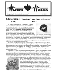 Glutathione-Your body`s most powerful protector - Nutri-west