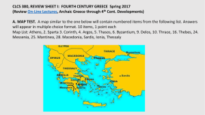 CLCS 380, REVIEW SHEET I: FOURTH CENTURY GREECE Spring