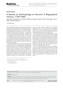 A Review of Anthropology at Harvard. A Biographical History, 1790