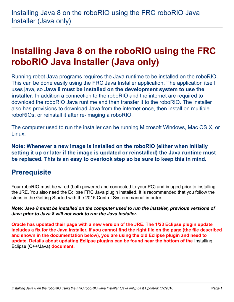 Installing Java 8 on the roboRIO using the FRC roboRIO