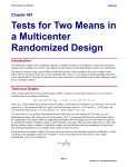 Tests for Two Means in a Multicenter Randomized Design
