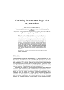 Combining Paraconsistent Logic with Argumentation