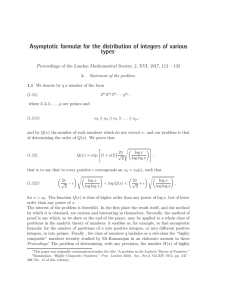 Asymptotic formulæ for the distribution of integers of various types∗
