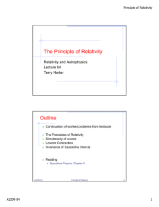The Principle of Relativity Outline
