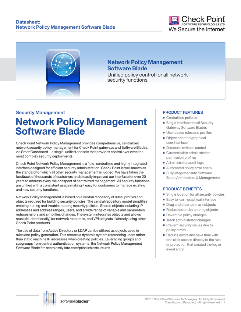 Network Policy Management Software Blade