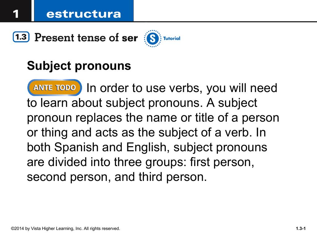 Estructura 1 3 Present Tense of SER