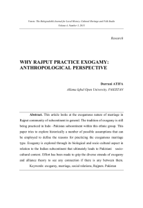 Why Rajput Practice Exogamy: Anthropological Perspective