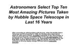 Astronomers Select Top Ten Most Amazing Pictures Taken by