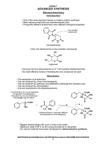ADVANCED SYNTHESIS Stereochemistry