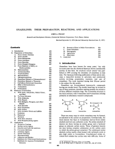 oxazolines. their preparation, reactions, and