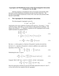 Lagrangian and Hamiltonian forms of the Electromagnetic Interaction