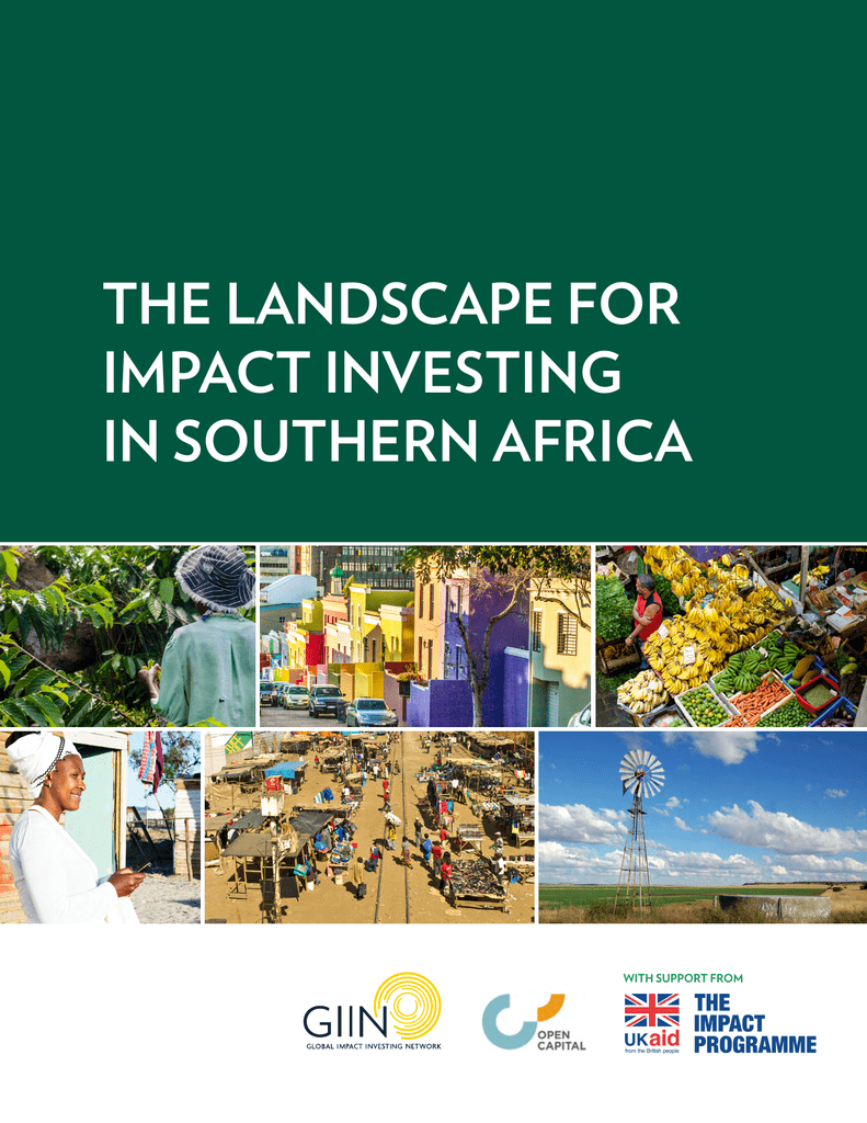 the landscape for impact investing in southern africa