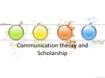 Chapter One Communication Theory and Scholarship