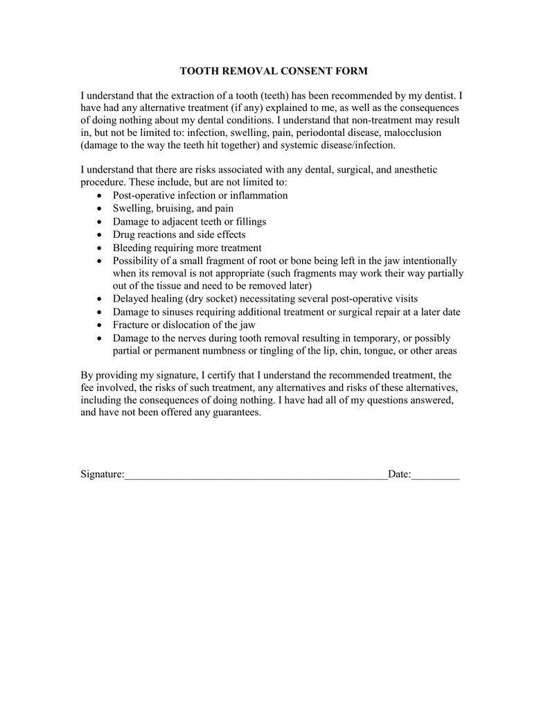 Tooth Removal Consent Form